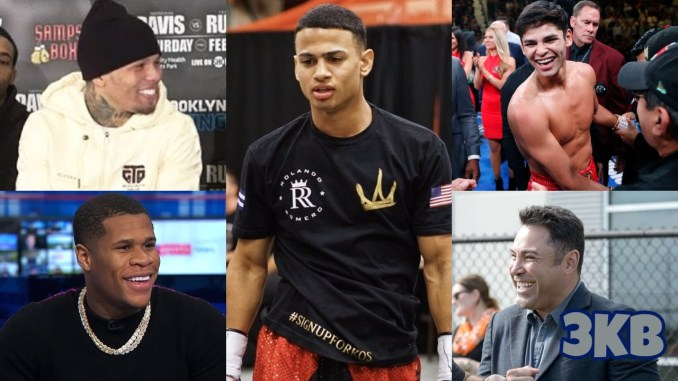 (clockwise from top left) Gervonta Davis, Rolando Romero, Ryan Garcia, Oscar De La Hoya, Devin Haney