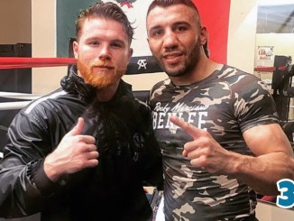 "Saul ""Canelo"" Alvarez (left) poses with Avni Yildirim"
