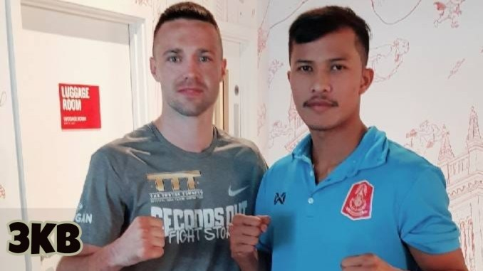 Josh Taylor (left) poses with Apinun Khongsong