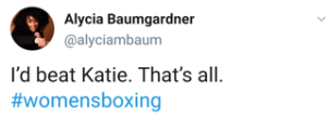 Alycia Baumgardner says she beats Katie Taylor