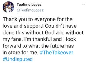 Teofimo Lopez express gratitude to supporters