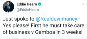 Eddie Hearn co-signs the call for Lopez v Haney in 2021