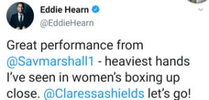 Eddie Hearn calls for Claressa Shields v Savannah Marshall