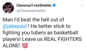 Claressa Shields declares she would beat fake fighter Jake Paul