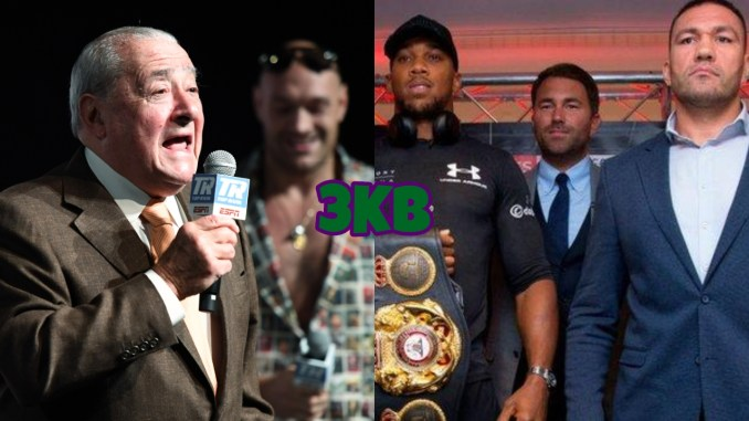 Bob Arum (left) with Tyson Fury in background, Anthony Joshua and Kubrat Pulev pose with Eddie Hearn in the background