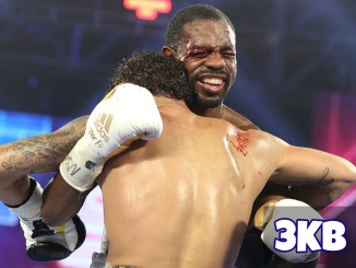 Jamel Herring takes a head-butt from Jonathan Oquendo