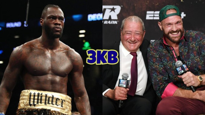 Deontay Wilder (left), Bob Arum and Tyson Fury