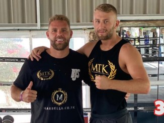 Billy Joe Saunders (left) with trainer Mark Tibbs