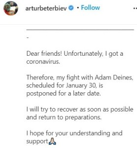 Artur Beterbiev announces he contracted COVID-19