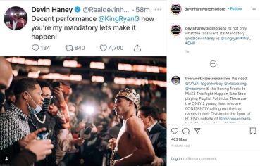 Devin Haney calls out Ryan Garcia