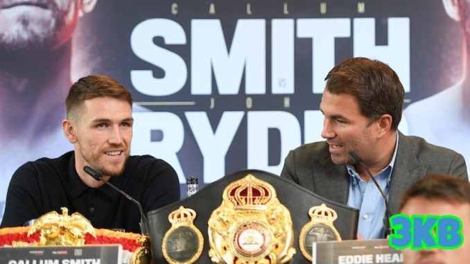 Callum Smith and Eddie Hearn) at a presser for the Smith v Ryder fight