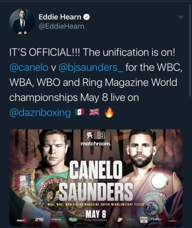 Eddie Hearn announces the unification between Canelo Alvarez and Billy Joe Saunders