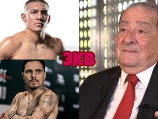 Teofimo Lopez (top left), Bob Arum (right), George Kambosos Jr.