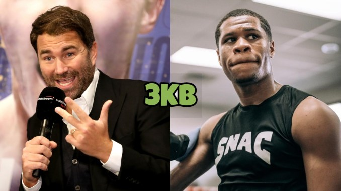 Eddie Hearn (left), Devin Haney