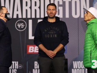 Josh Warrington (left), Eddie Hearn (center) and Mauricio Lara preceding the February 13, 2021 match-up