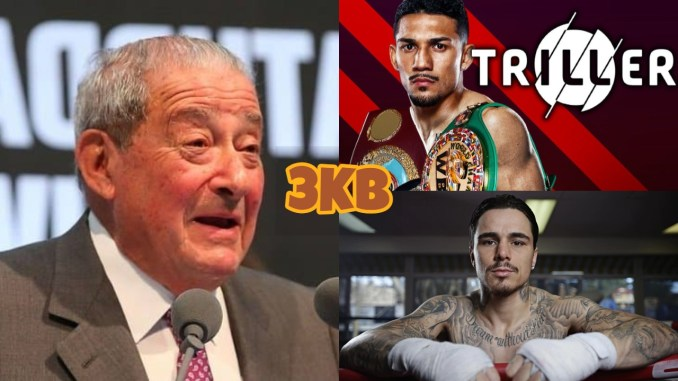 Bob Arum (left), Teofimo Lopez (top), George Kambosos Jr.