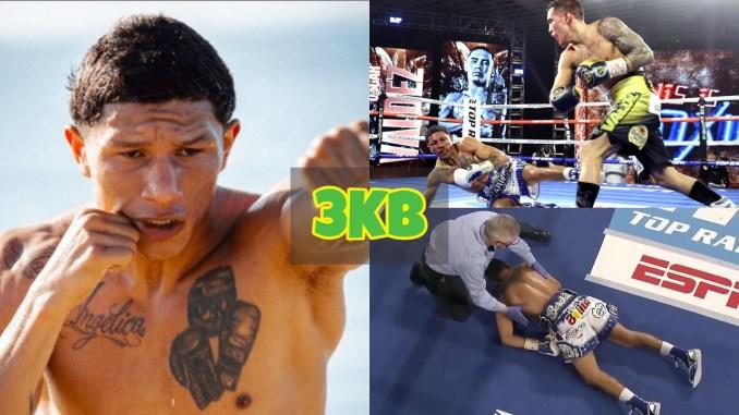 Miguel Berchelt shadowboxes. Miguel Berchelt knocked down twice against Oscar Valdez.
