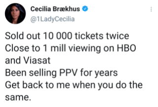 Cecilia Braekhus tweets Claressa Shields she has been selling PPV events