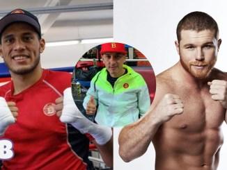 """David Benavidez (left), Saul """"Canelo"""" Alvarez (right), Jose Benavidez Sr."""