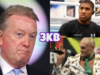 Frank Warren (left), Anthony Joshua (top right), Tyson Fury