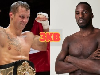 Mairis Briedis flexes in the ring, Lawrence Okolie poses