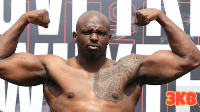 Dillian Whyte flexes his muscles.