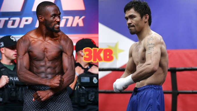 Terence Crawford flexes his muscles; Manny Pacquiao flexes his muscels.