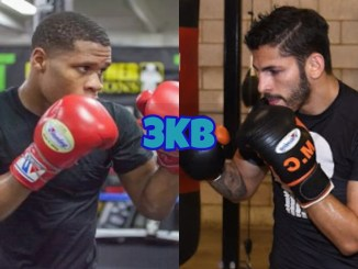 Devin Haney with his gloves up; Jorge Linares with his gloves up