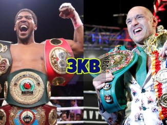Anthony Joshua shows of three belts; Tyson Fury shows off two belts