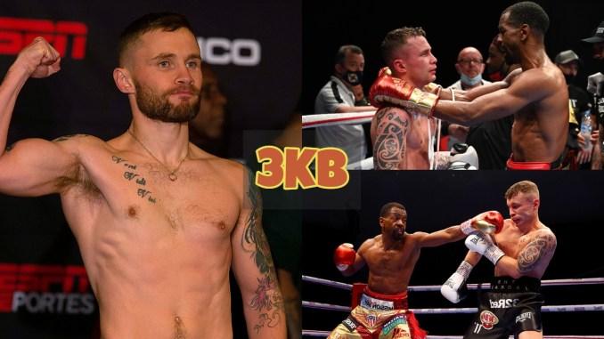 Carl Frampton flexes muscle; Jamel Herring and Carl Frampton conversate after the fight; Jamel Herring throws a straight left at Carl Frampton.