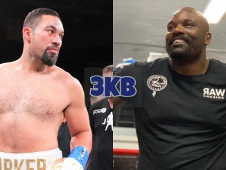 Joseph Parker out towards the audience; Derek Chisora laughs while standing in the ring.