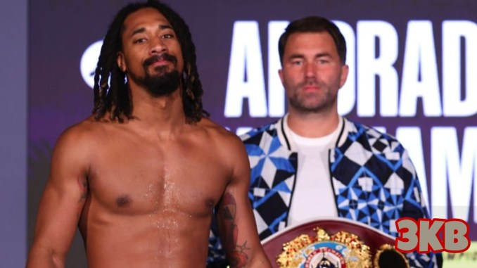 Demetrius Andrade with Eddie Hearn holding the WBO World Middleweight title