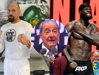 Tyson Fury (left), Deontay Wilder (right), Bob Arum