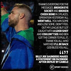 Billy Joe Saunders makes a public statement on his loss to Canelo Alvarez