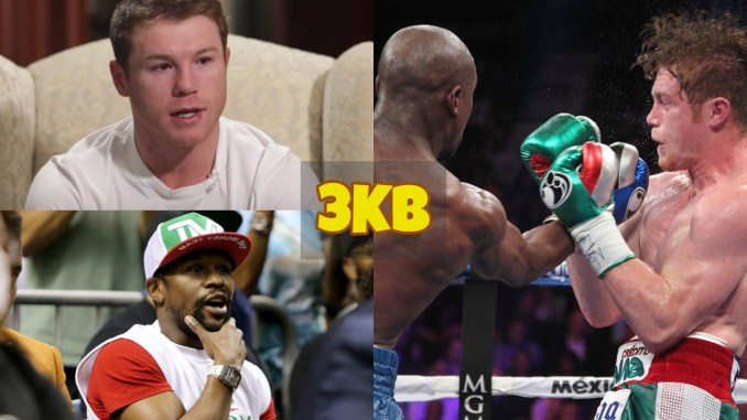 Canelo Alvarez eyes filled with tears; Floyd Maywether Jr grabs his chin in amazement; Floyd Mayweather Jr lands and uppercut on Canelo Alvarez.