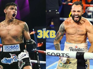 Emanuel Navarrete screams in victory; Christopher Diaz flexes his muscles after victory.