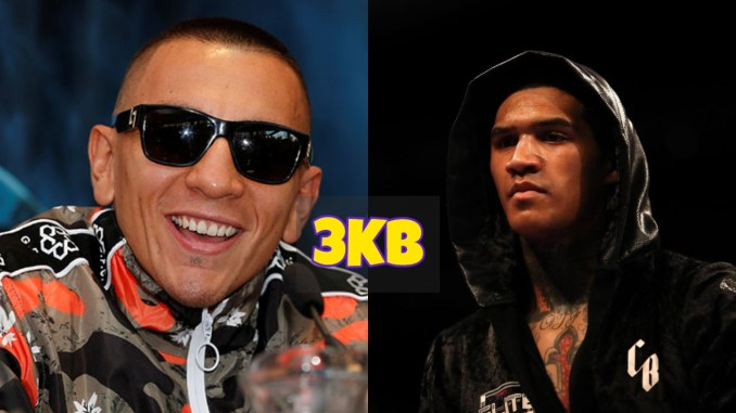 Samuel Vargas smiles for the camera; Conor Benn stares down his opponent in the ring.
