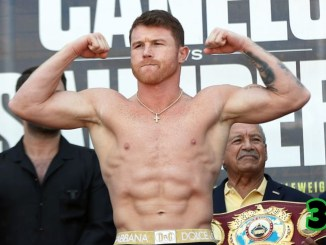 Unified Super Middleweight champion Canelo Alvarez at weigh-in for Billy Joe Saunders unification bout