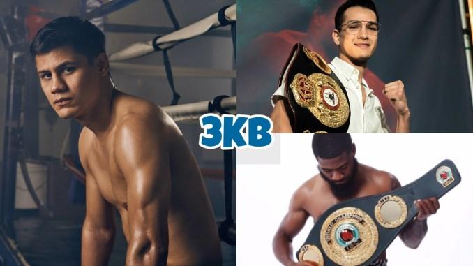 Daniel Roman, WBC Super Bantamweight champion Brandon Figueroa (top right), WBO Super Bantamweight Stephen Fulton