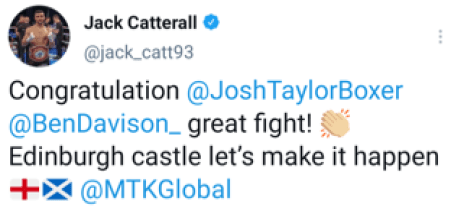 Jack Catterall reminding Josh Taylor he is next tweet.