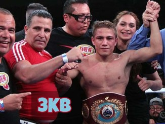 Elwin Soto celebrates victory with WBO title.