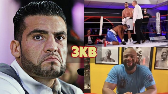 Manuel Charr sneers at his opponent; Manuel Charr stops Christopher Lovejoy; Trevor Bryan smiles for the camera.