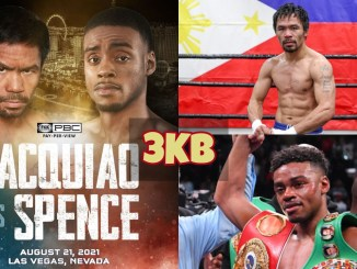 Manny Pacquiao vs Errol Spence Jr poster; Manny Pacquiao flexes his muscles; Errol Spence Jr celebrates victory.