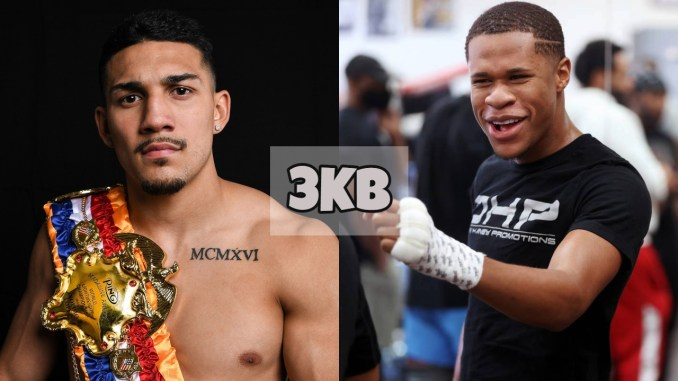 Teofimo Lopez with the RING Magazine belt; Devin Haney laughs in training.