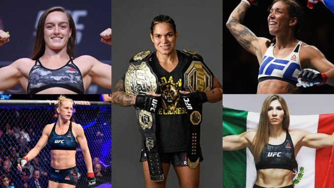 Aspen Ladd flexes her muscles; Amanda Nunes shows off her belts; Germaine de Randamie celebrates victory; Holly Holm sneers at her opponent; Irene Aldana raising the Mexican flag.
