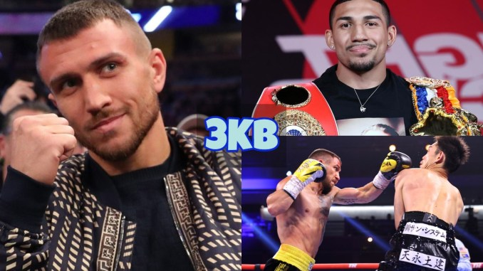Vasiliy Lomachenko with his fist raised; Teofimo Lopez with the Ring Magazine and WBA belts; Lomachenko lands a left hand on Masayoshi Nakatani.