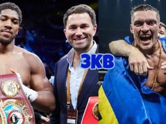 Unified Heavyweight champion Anthony Joshua with Eddie Hearn of Matchroom Boxing, Oleksandr Usyk