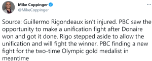 A source states Guillermo Rigondeaux will step aside to allow a unification fight between John Riel Casimero and Nonito Donaire