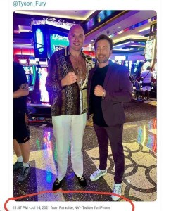 Tyson Fury takes a picture with unknown man after testing positive for COVID-19.