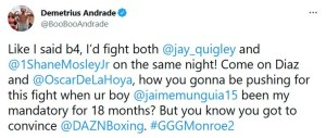 Demetrius Andrade says he's open to fighting Jason Quigley